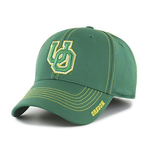 NCAA Oregon Ducks Adult Start Line Ots Center Stretch Fit Hat, Medium/Large, Kelly
