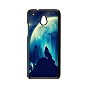 HTC One Mini Case,Howling Wolf And Moon Beautiful Starry Sky Of Night High Definition Wonderful Design Cover With Hign Quality Hard Plastic Protection Case