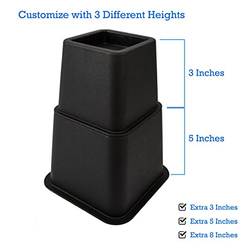Premium Adjustable Bed Risers, Heavy Duty, Thick,, Strong & Sturdy, Increase Storage Under Beds, Three Heights Available, Set of 12, Great For Other Furniture Too!