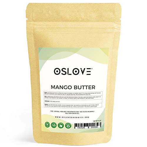 Mango Butter 1 LB by Oslove Organics -Pure, Natural, Hand -packed, Fresh and Fluffy in DIY mixes, Extra emolliency for lotions and creams. (Homemade Hair Remedies For Dry Damaged Hair)