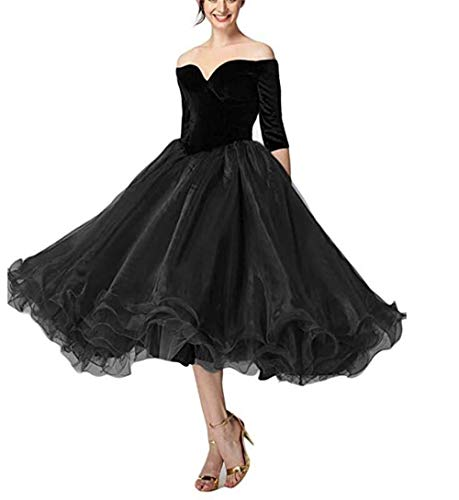 - Vivian's bridal Women's 2019 Short Evening Prom Dresses with Sleeve Off The Shoulder Tea Length VYR11 Black 14