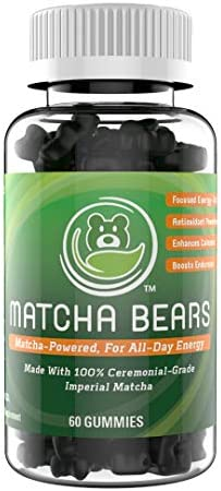 Matcha Bears Matcha Infused Gummy Vitamin Supplement Made with Ceremonial Grade Green Tea Matcha Powder Natural Antioxidant Powerhouse 60 Gummies