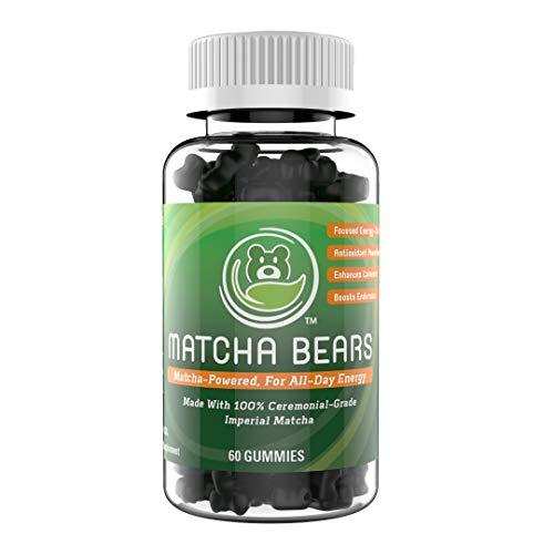 Matcha Bears Matcha Infused Gummy Vitamin & Supplement Made with Ceremonial Grade Green Tea Matcha Powder | Natural Antioxidant Powerhouse (60 Gummies) -