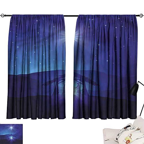 Jinguizi Drapes/Draperies Darkening Curtains Indigo,Night Sky and Bethlehem,Household Curtain Panels W72 x -