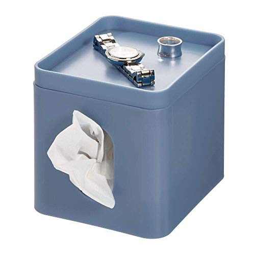 iDesign Cade Facial Tissue Box Cover, Boutique Box Bathroom Holder for Vanity, - Blue Bathroom Navy Mirrors