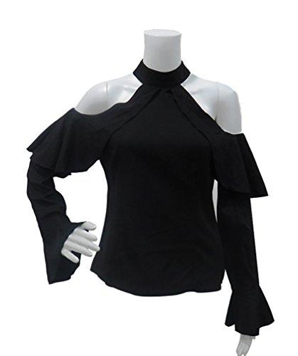 NiSeng Mujeres Casual Color Sólido Slim Fit Gran Tamaño Manga Larga Off Shoulder Camisetas Blusa Tops Negro