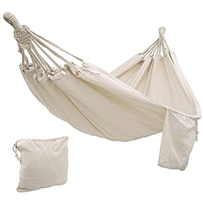 "SONGMICS Cotton Hammock Swing Bed for Patio, Porch, Garden or Backyard Lounging - Heavy-Duty, Lightweight and Portable - Indoor Outdoor - Natural White UGDC15M - UPGRADED FABRIC: 320g/m2 thick fabric, with vibrant colors and is composed of 70% durable cotton and 30% soft polyester; breathable, sweat absorbing and super easy to clean HOLDS UP TO 660LBS: Handcrafted knots at both ends hold up to an impressive 660lbs; 24 strong cotton ropes at each side evenly distributes the load across the surface COZY LIKE A COCOON: With an overall length of 138"" and a large surface sized 99"" x 59"", this comfy hammock is the perfect spot for lounging, napping, reading and happy family times - patio-furniture, patio, hammocks - 41KwuukQP6L. SS400  -"