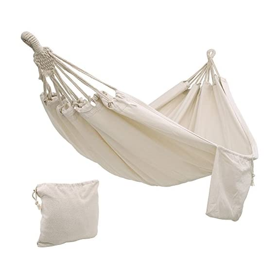 """SONGMICS Cotton Hammock Swing Bed for Patio, Porch, Garden or Backyard Lounging - Heavy-Duty, Lightweight and Portable - Indoor Outdoor - Natural White UGDC15M - UPGRADED FABRIC: 320g/m2 thick fabric, with vibrant colors and is composed of 70% durable cotton and 30% soft polyester; breathable, sweat absorbing and super easy to clean HOLDS UP TO 660LBS: Handcrafted knots at both ends hold up to an impressive 660lbs; 24 strong cotton ropes at each side evenly distributes the load across the surface COZY LIKE A COCOON: With an overall length of 138"""" and a large surface sized 99"""" x 59"""", this comfy hammock is the perfect spot for lounging, napping, reading and happy family times - patio-furniture, patio, hammocks - 41KwuukQP6L. SS570  -"""