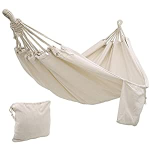 SONGMICS Cotton Hammock Swing Bed for Patio, Porch, Garden or Backyard Lounging - Heavy-Duty, Lightweight and Portable - Indoor & Outdoor - Natural White UGDC15M