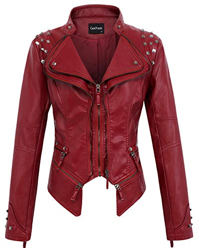 chouyatou Women's Fashion Studded Perfectly Shaping Faux Leather Biker Jacket (Small, Dark Red) ()
