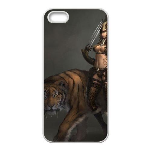 V8B21 tigre femme K0V5RR coque iPhone 4 4s cellulaire cas de téléphone couvercle coque blanche XC2TPU7VF