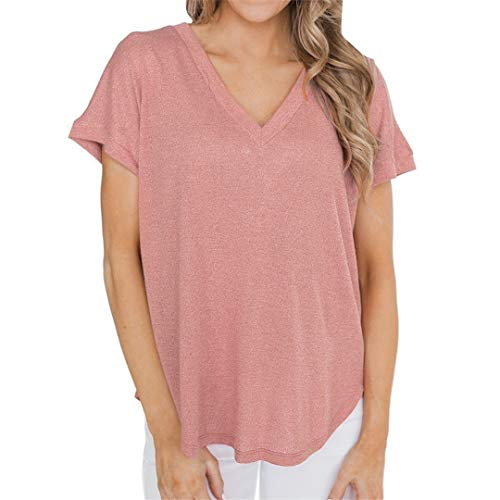 XVSSAA Women's Pure Color Round Neck Short Sleeve T-Shirt, Holiday Sexy Backless Crossover Lace-Up Top Tee Pink ()