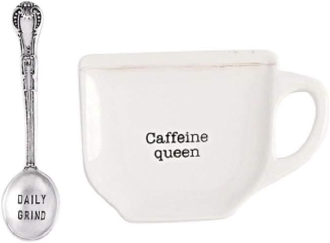 Mud Pie Home Kitchen Circa Coffee Break Coffee Mug Spoon Rest Sets 42600445 (Caffeine Queen)