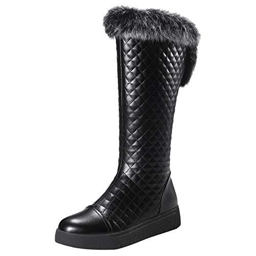Boots Plates Noir Longue Bottes Femmes Fourrure Chaudes Hiver Taoffen 8TqIBn