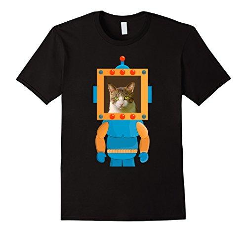 Lucky Black Cat Costume (Mens Lucky Cat Shirt Funny Robot Cat Halloween Shirt Costume Small Black)