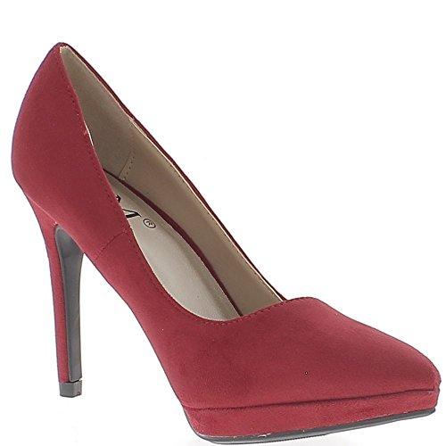 Scarpe rosse 10,5 cm tacco in camoscio aspetto tagliente con piattaforma