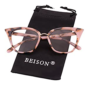 Beison Womens Cat Eye Mod Fashion Eyeglasses Frame Clear Lens (Pink leopard, 52)
