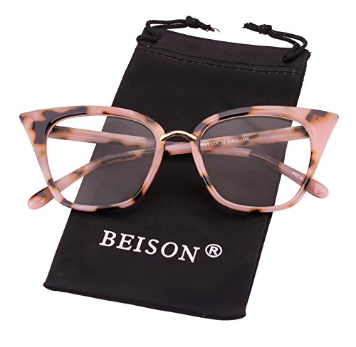 Beison Womens Cat Eye Mod Fashion Eyeglasses Frame Clear Lens (Pink leopard, - Eye Glasses