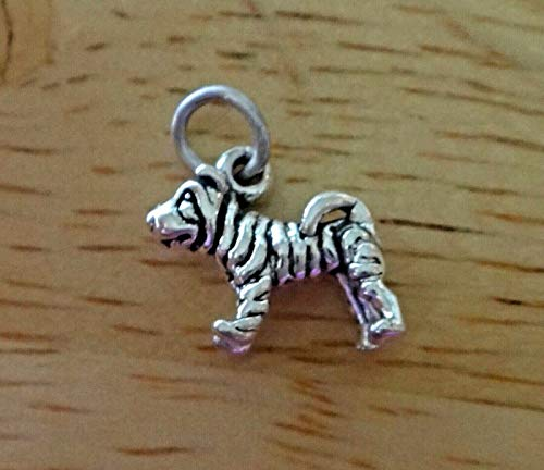 1 Sterling Silver 3D Tiny 10x12mm Solid Shar Pei Dog Charm
