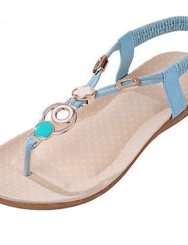 Sandalen Flache Kleid Blau Ferse Beige Schwarz Damenschuhe Zehenring ShangYi T5w4Iq5
