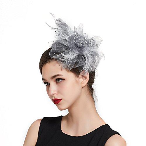 Fascinators for Women Headband Feather Flower Tea Party Derby Top Hat Headwear Wedding Headpiece