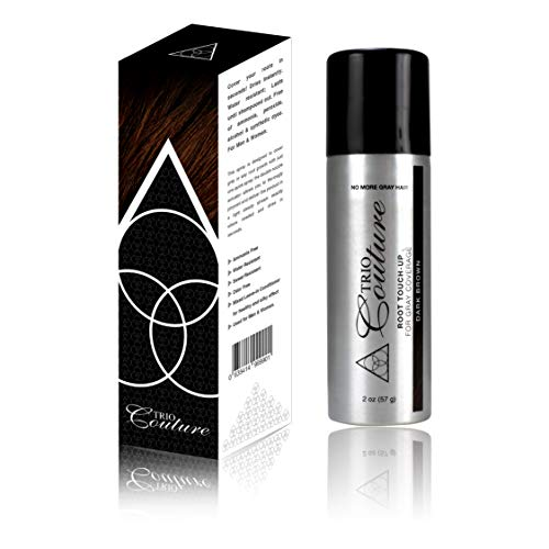 Trio Couture Hair Root Cover Up - Touch Up Gray Concealer Spray - 2 oz (Dark Brown) ()