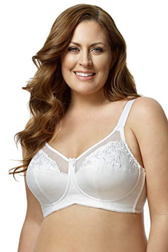 (Elila Women's Plus Size Embroidered Wireless Bra #1301 - Mocha, 36 B )