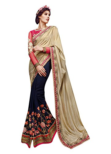 Vaaman Blue & Beige Georgette Embroidered Saree With Matc...