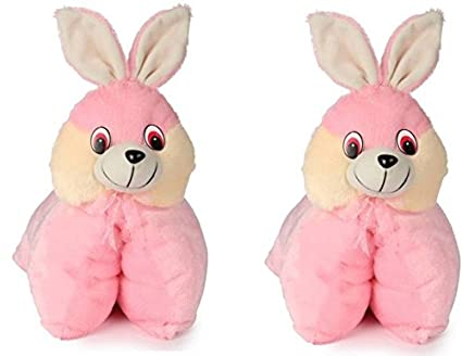SRT Folding Bunny Pillow Cum Soft Toy Set of 2 - 40 cm (Pink)