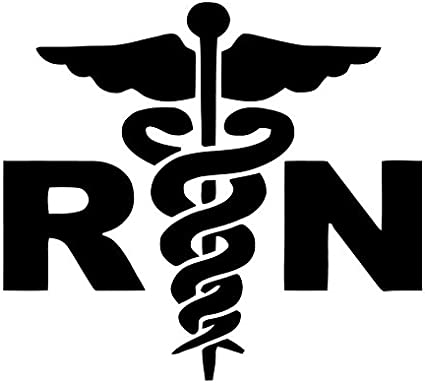 CMI NI990 RN Registered Nurse Decal Sticker Premium Quality White Vinyl 6-Inches by 4.8-Inches