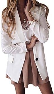 KLJR Women Solid Color Work Dress Casual Plus Size 1 Button Blazer Jacket Suit Coat