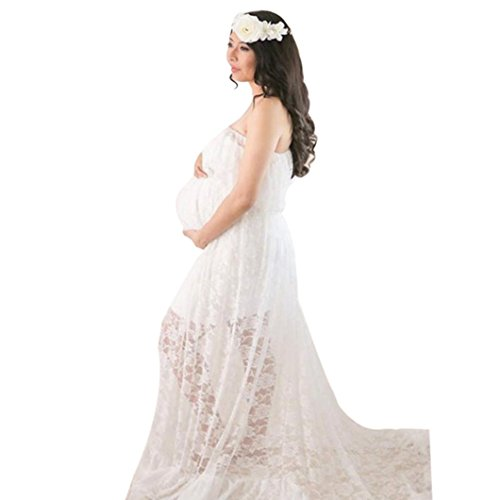 Sunbona Maternity Lace Maxi Split Front Off Shoulder Dresses Women's Pregnant Photography Sexy Dress For Photo Shoot (White)