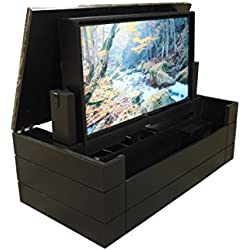 "American TV Lift Cabinet - Handcrafted Low Profile Granite Top Flip Up TV Cabinet (65"" TV Cabinet, Black)"