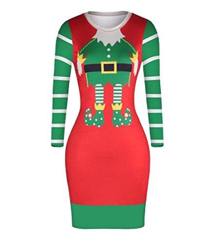 Femmes Coolred Motif D'impression Sexy Taille Moulantes Robes De Vacances De Noël Comme Image