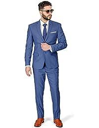 Slim Fit Men Suit Micro Textured Weave 2 Button Notch Collar AZAR 11812