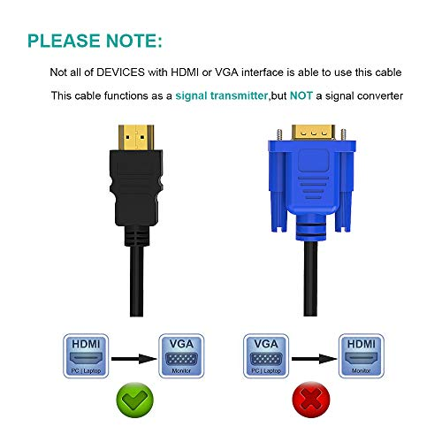 HDMI to VGA, Giaride 6Ft 1 8M Gold-Plated 1080P HDMI Male to VGA Male  Adapter Cable, HDMI to VGA one-Way Transmission Cable (No Signal Conversion