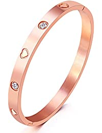 """Valentines Gifts Mocalady Jewelry Yellow/ Rose/ White Gold Plated Bangle Bracelet Set In Stone Stainless Steel With Crystal Bangle Bracelets for Women Jewelry Size 6.7"""""""