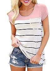 Flying Rabbit Damen Shirt Sommer Kurzarm Farbblock Streifen Tops Rundhals Bluse, Stil1-rosa, L