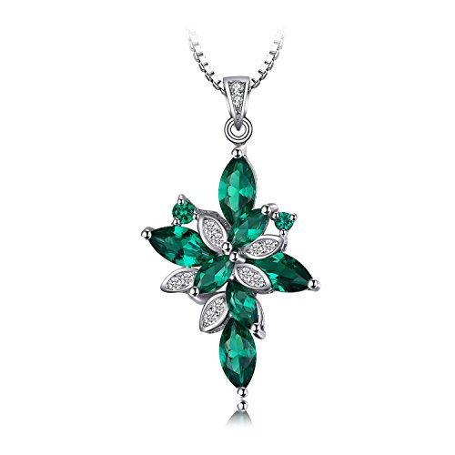 JewelryPalace Flower Shape 2.6ct Simulated Green Nano Russian Emerald 925 Sterling Silver Pendant Necklace 18 Inches ()