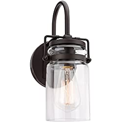 "Kira Home Wyer 11.5"" Modern Industrial Clear Jar Glass Wall Sconce, Bronze Finish, Energy Efficient, Eco-Friendly"