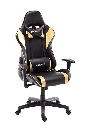 Morfan Gaming Chair Massage and Rocking Function Computer PU Leather Swivel Racing Style Office Chair with Adjusted Headrest Lumbar Support F Series Black Gold
