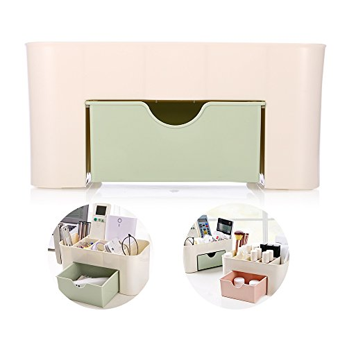 Plastic Tiered, Divided Makeup Organizer Storage Shelf and Display Box - 1 Drawers - for Bathroom Vanity Countertop - Holds Lip Gloss, Eyeshadow Palettes, Brushes, Blush, Mascara (Green)