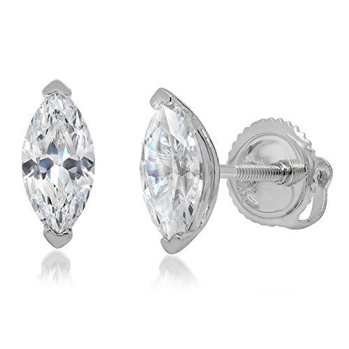 1.20 CT Brillaint Marquise Cut Simulated Diamond Solitaire Stud Earrings14k White Gold Screw Back (Zirconia Stud Marquise Cubic)