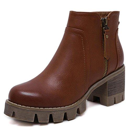 Botas Botas Mujer Moda Zapatos Pantalones De Martin Tacón Casual Cortos Rústico Botines Brown Tacones Fondos Boots Meili Gruesos Altos Salvaje gxInaqn