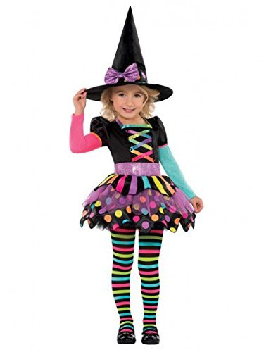 Uk Girls Costume Witch (Fancy Dress - Girls Miss Matched Neon Witch Costume - Age 3-4 Years - by)