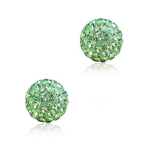 Silver Plated Rhinestone Crystal Balls Stud Earring for Women Girl 8mm - Peridot Plated 8mm Sterling