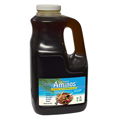 Coconut Secret Coconut Aminos - 128 fl oz - Low Sodium Soy Sauce Alternative, Low-Glycemic - Organic, Vegan, Non-GMO, Gluten-Free, Kosher - Keto, Paleo, Whole 30 - 768 Servings