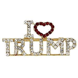 I Love President Trump Red Love TRUMP Crystal Rhinestones Brooches Pin for Women