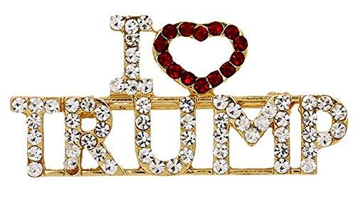 - I Love President Trump Red Love TRUMP Crystal Rhinestones Brooches Pin for Women