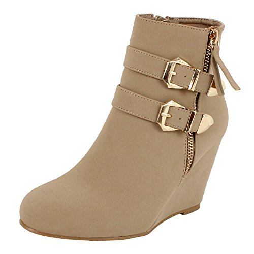 West Blvd Amman Ankle Wedges Boots, Taupe Nubuck, 10